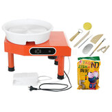 220V 25cm Red Kids Electric Pottery Wheel Machine DIY Ceramic Work Clay Art Craft