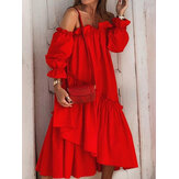 Off Shoulder Pleating Ruffles Solid Color Holiday Casual Layered Dress For Women