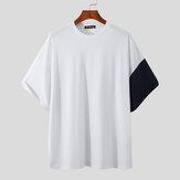 Épissage col rond hauts à manches courtes T-shirt décontracté imprimé baleine hauts respirants et confortables pour hommes