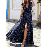 Polka Dots V-Ausschnitt Kurzarm Print Split Party Wrap Maxi Kleid