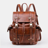 Unisex Faux Leather Business Retro Solid Color Daily Large Capacity School Bag Backpack