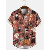 Women Halloween Cartoon Funny Print Lapel Short Sleeves Casual Shirts