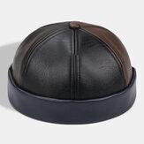 Collrown Unisex Suni Deri Patchwork Renk Retro Klasik Renk Brimless Beanie Ev Sahibi Şapka Kafa Tası Şapka