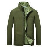 Mens Casual Winter Fleece Thick Outdoor Stand Collar Jacket