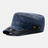 Férfi farmer hímzés kültéri alkalmi lélegző katonai kalap csúcsos kalap lapos kalap