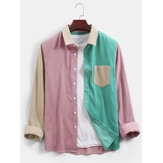 Mens Corduroy Colorblock Patchwork Casual Long Sleeve Shirts With Pocket