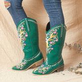 Stivali da cowboy a metà polpaccio con tacco grosso indossabili con stampa floreale retrò in pelle da donna