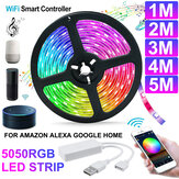 1M / 2M / 3M / 4M / 5M WiFi Smart RGB LED Streifenlicht APP Control Flexible Lampe Arbeiten Sie mit Amazon Alexa Google Home DC5V
