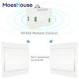 MoesHouse RF433 Interruptor sem fio Nº Bateria Controle Remoto Interruptor de luz de parede com alimentação própria, sem necessidade de fiação.