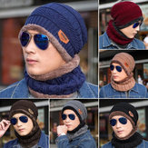Men Women Outdoor Sports Bike Hat Winter Warm Knitted Baggy Beanie Cap Scarf Set