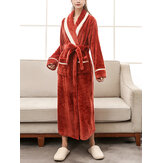 Women Contrast Color Long Sleeve Thicken Double Pocket Sashes Sleepwear Robes