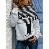 Women Cartoon Cat Stripe Print Daily Casual Long Sleeve Hoodies
