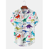 Mens Cartoon Funny Dinasour Pattern Kurzarm Casual Shirts