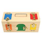 Habilidade da vida das crianças que aprende o fechamento de madeira prático de madeira de Montessori Caixa brinquedos educacionais da ciência