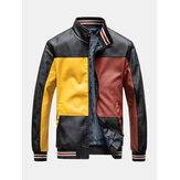 Jaquetas masculinas Colorblock Patchwork PU Couro Zip Frente Lapela Gola Engrossada