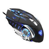 Kabelová herní myš AULA S20, programovatelná optická ergonomická myš 2400DPI se 4 barevnými dýchacími světly pro stolní notebook