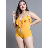 Plus Size Women Ruffles Zipper Spaghetti Straps Solid Color Bodysuits