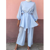 Women Solid Color Long Sleeve Sashes Tops Wide Leg Pants Ethnic Style Two Piece Set