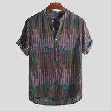 पुरुषों की जातीय शैली Colorful धारी ढीली टी-शर्ट