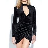 Women Party Black Velvet Bodycon Long Sleeve Hollow Out Mini Dress