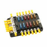 12V/24V Fuse Block 12 Way LED Fuse Junction Box Blade Fuse 24 Terminal Box Car Boat