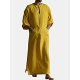 Mens Mustard Set Cotton Crew Neck Neckline Slit 3/4 Length Sleeve Long Length Gown Shirts