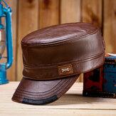 قبعات جلدية مسطحة للرجال من Collrown مع قبعة مطابقة اللون قبعات دافئة