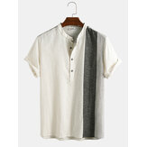 Hommes Casual 100% coton Patchwork Breathalbe à manches courtes Henley Shirts