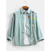 Mens Funny Cartoon Print Baumwolle Button Up Regular Fit Langarmhemden
