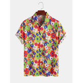 100% algodón Colorful Daisy Printed Turn Down Collar Casual Holiday Shirts para hombre Mujer