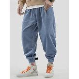Pantalon décontracté épais en velours côtelé vintage pour homme