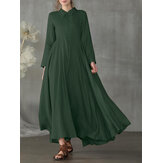 Women Cotton Lapel Swing Solid Color Casual Maxi Dresses With Side Pocket