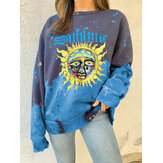 Women Funny Graffiti Print Long Sleeve Pullover Round Neck Design Sweatshirts