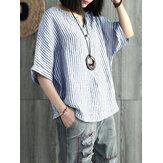 Mujer vendimia blusa holgada a rayas manga batwing