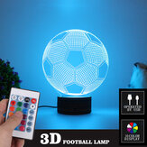 3D Football LED Night Light 16 Color Adjustable USB 4 Mode Lamp + Remote Control