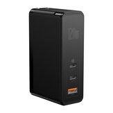 [GaN + SiC Tech] Baseus Carregador USB-C de 120W 3 portas PD3.0 QC4 + SCP FCP Carregador rápido de parede USB Carregador de parede Adaptador de tomada dos EUA Com cabo de alimentação de 100W USB-C para USB-C