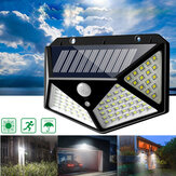 100 LED Solar Powered PIR Motion Sensor Wall Light Outdoor Garden Lamp 3 Modes