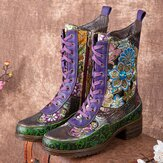 Socofy Women Retro Floral Embroidery Printing Leather Comfy Chunky Heels Mid-calf Boots