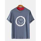 T-shirt casual da uomo manica corta Collo Graffiti Smile