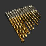 Drillpro DB-T2 13pcs 1.5-6.5mm HSS Titanium Coated 1/4 Inch Hex Shank Twist Drill Bit Set