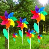 Kleurrijke PVC Houten Windmolen Home Tuinfeest Trouwdecoratie Kid Toy