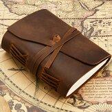 Cuaderno de cuero retro Piel Genuina Libro de diario Libro de papel en blanco Hecho a mano Cuaderno Banda