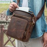 Men Genuine Leather Multifunction Multi-Pocket Vintage Briefcases Messenger Bag Crossbody Bag Handbag