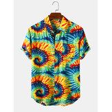 Mens Swirl Print Turn Down Collar Short Sleeve Shirts