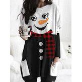 Kvinder jul snemand print med lange ærmer bluse mini kjoler med lomme