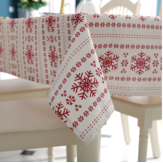Linen Cotton Tablecloth Red Snowflakes Christmas Table Cloth for Wedding Banquet Washable Table Cover Textiles