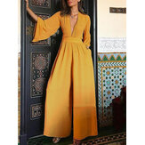 Solid Color V-neck Long Sleeve Wide Leg Casual Jumpsuits Overalls For Women