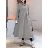 Original              Women Solid Color Irregular Hem Casual Hooded Sweatshirt Maxi Dresses With Side Pocket