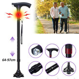 Smart FM Radio Old Man Woman Walking Stick Trekking Pole Aluminum Alloy LED Camping Light Auto Alarm 64-97cm Height Adjustable Telescopic Musical Ultra Light Music Electronic Cane