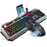 Wired Keyboard & Mouse Set 104 Keys RGB Gaming Keyboard with Phone Holder 2000DPI Ergonomic Mouse